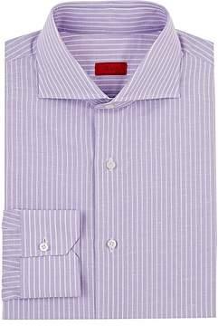 Isaia Men's Striped Slub-Cotton-Linen Dress Shirt