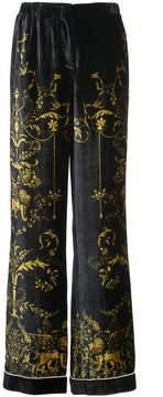 Alberta Ferretti printed velvet palazzo pants