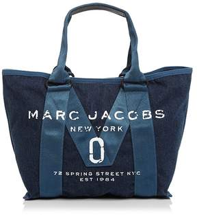 Marc Jacobs Logo Small Denim Tote - DENIM/BLACK - STYLE