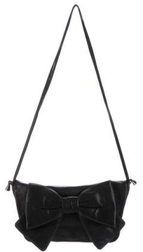 Dolce & Gabbana Leather Bow Messenger Bag - BLACK - STYLE