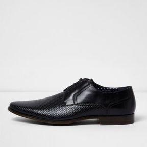 River Island Mens Black embossed formal shoe