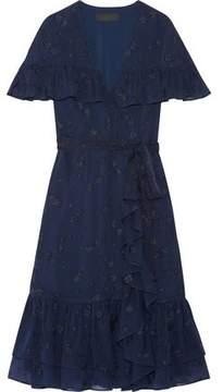 Co Ruffled Wrap-Effect Fil Coupé Silk-Chiffon Dress