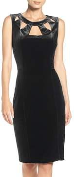 Eliza J Velvet Cutout Sheath Dress