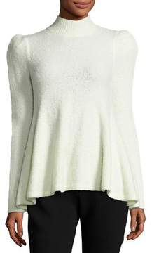 Co Flounce Sweater with Strong Shoulder, Ivory