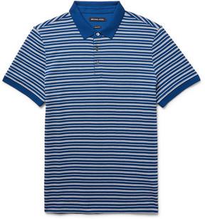 Michael Kors Striped Textured-Knit Pima Cotton Polo Shirt
