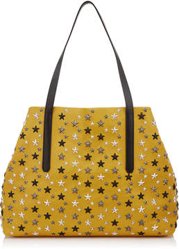 Jimmy Choo PIMLICO/S Mustard Leather Small Tote Bag with Gunmetal Multi Metallic Stars