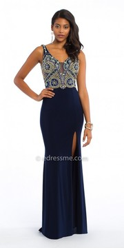 Camille La Vie Kaleidoscope Beaded Jersey Evening Dress