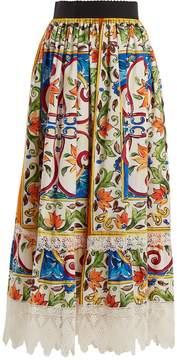 Dolce & Gabbana Majolica-print lace-trimmed cotton-blend skirt