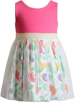Sweet Heart Rose Glitter-Mesh Bird-Print Dress, Toddler Girls