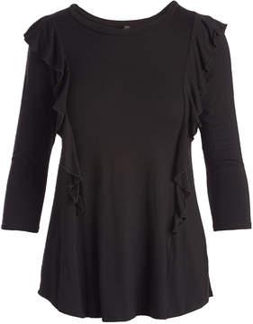 Celeste Black Ruffle-Accent Three-Quarter Sleeve Top - Women
