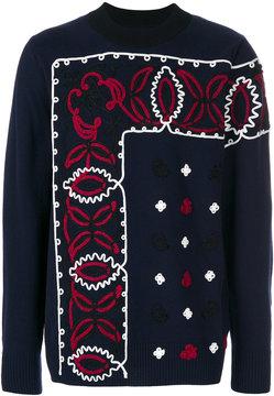 Sacai paisley border applique sweater