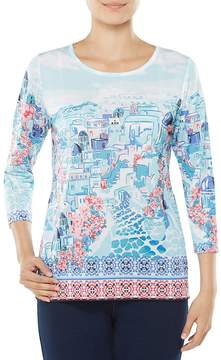 Allison Daley Petites 3/4 Sleeve City Tile Print Knit Top