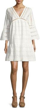 BA&SH Gaia Cotton Lace V-Neck Mini Dress, Ecru