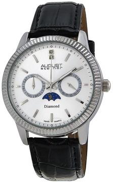 August Steiner Diamond Multi-Function Black Leather Men's Watch