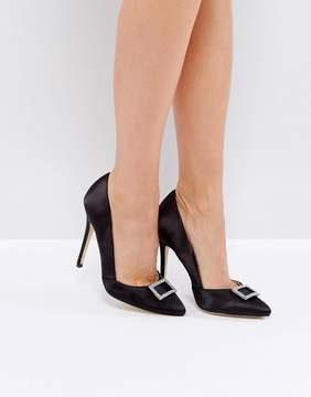 London Rebel Point Satin Heeled Shoe