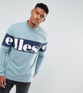 Ellesse High Neck Sweatshirt With Large Panel Logo In Blue