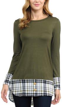 Celeste Olive Plaid-Trim Button-Accent Tunic - Women