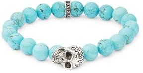 King Baby Studio Men's Turquoise & Sterling Silver Skull Bracelet