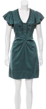 Mulberry Satin Embroidered Dress