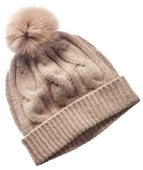 Sofia Cashmere sofiacashmere Sofiacashmere Taupe Cable-knit Cashmere Hat.