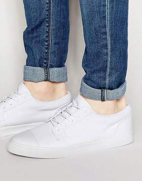 Asos Lace Up Sneakers In White With Toe Cap