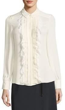 Escada Ruffled Lace-Bib Silk Shirt