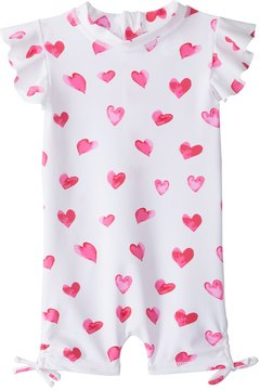 Snapper Rock Girls' Watercolor Hearts S/S One Piece Sunsuit (0mos2T) - 8155091