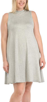 Bellino Heather Gray Mock Neck Dress - Plus
