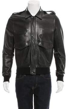 Trussardi Leather Bomber Jacket