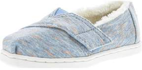 Toms Girl's Classic Heather Jersey And Faux Shearling Alaskan Blue Ankle-High Fabric Fashion Sneaker - 6M