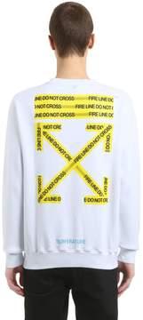 Off-White Fire Line Tape Printed Cotton Sweatshirt