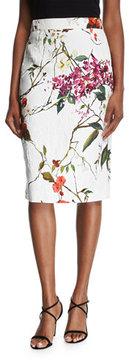 Escada Floral Printed Matelasse Pencil Skirt