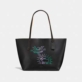 COACH Coach X Keith Haring Market Tote - BLACK/BLACK/BLACK COPPER - STYLE