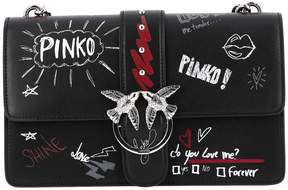 Pinko Crossbody Bags Love Bag Graffiti In Leather With Chain Shoulder Strap