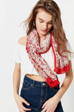 Urban Outfitters Bordered Printed Lightweight Woven Scarf