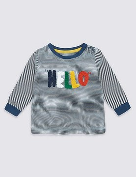 Marks and Spencer Pure Cotton Hello Slogan T-Shirt