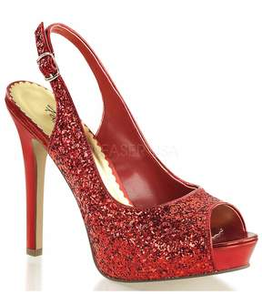 Unique Vintage Red Glitter Platform Sling Back Heels Shoes