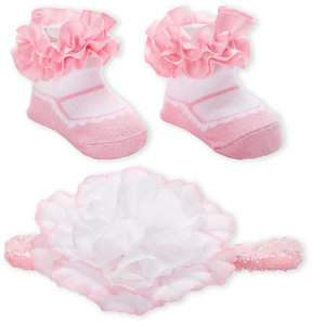 Laura Ashley Newborn/Infant Girls) Flower Headwrap & Ruffle Sock Set