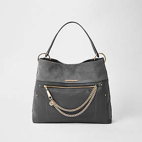 River Island Dark grey zip front chain front slouch bag