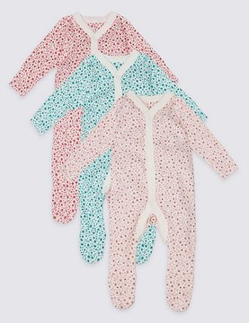 Marks and Spencer 3 Pack Pure Cotton Ditsy Floral Print Sleepsuits