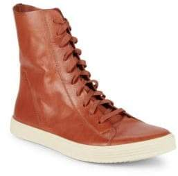 Rick Owens Lace-Up Leather High-Top Sneakers