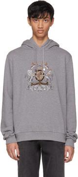 Dolce & Gabbana Grey Embroidered Crest Hoodie