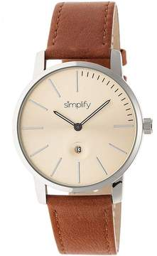 Simplify The 4700 SIM4704 Silver and Camel Leather Analog Watch