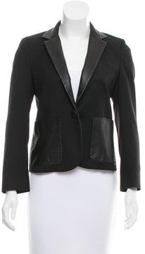 Band Of Outsiders Leather-Accented Wool Blazer