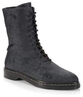 The Row Fara Distressed Silk Combat Boots