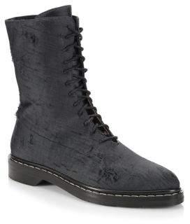 The Row Fara Distressed Silk Combat Boots