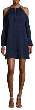Cynthia Steffe Textured Geometric Cold-Shoulder Dress