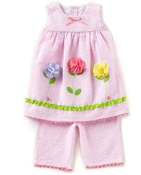 Bonnie Jean Bonnie Baby Baby Girls 12-24 Months Flower-Appliqued Seersucker Checked A-Line Dress & Pant Set