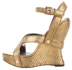 Tom Ford Python Wedge Sandals