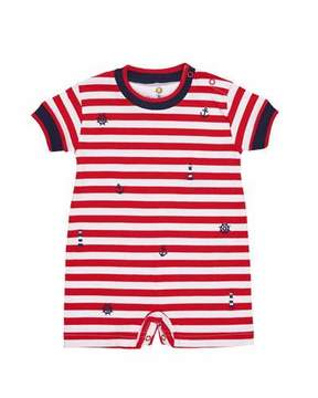 Florence Eiseman Stripe Knit Playsuit w/ Nautical Embroidery, Size 3-24 Months
